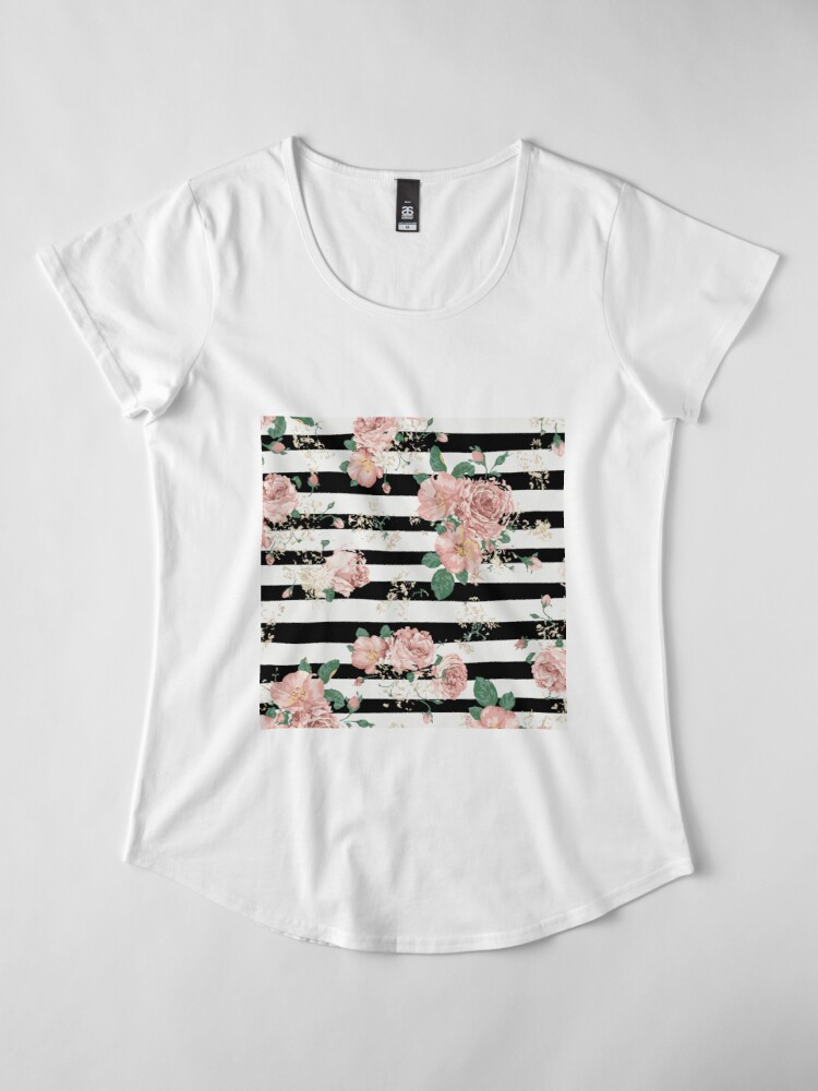 Vista alternativa de Camiseta premium de cuello ancho VINTAGE FLORAL ROSES BLACK AND WHITE STRIPES