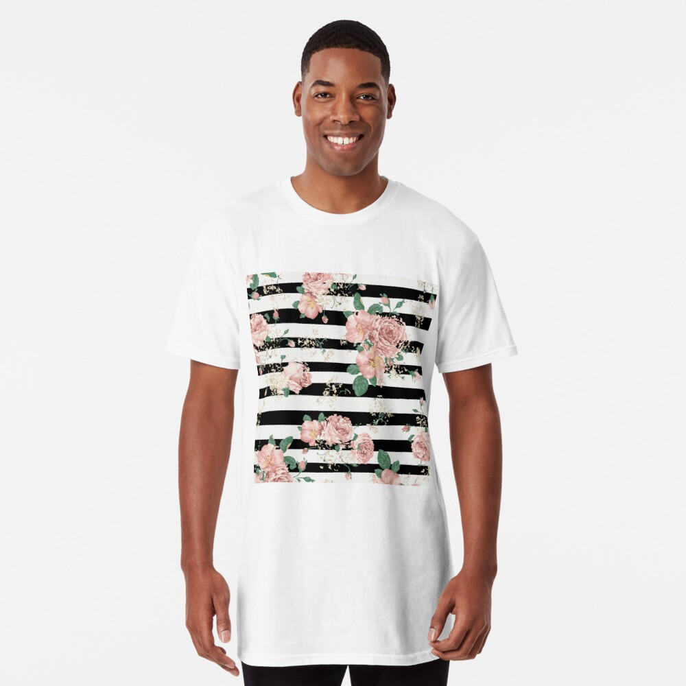 VINTAGE FLORAL ROSES BLACK AND WHITE STRIPES Camiseta larga