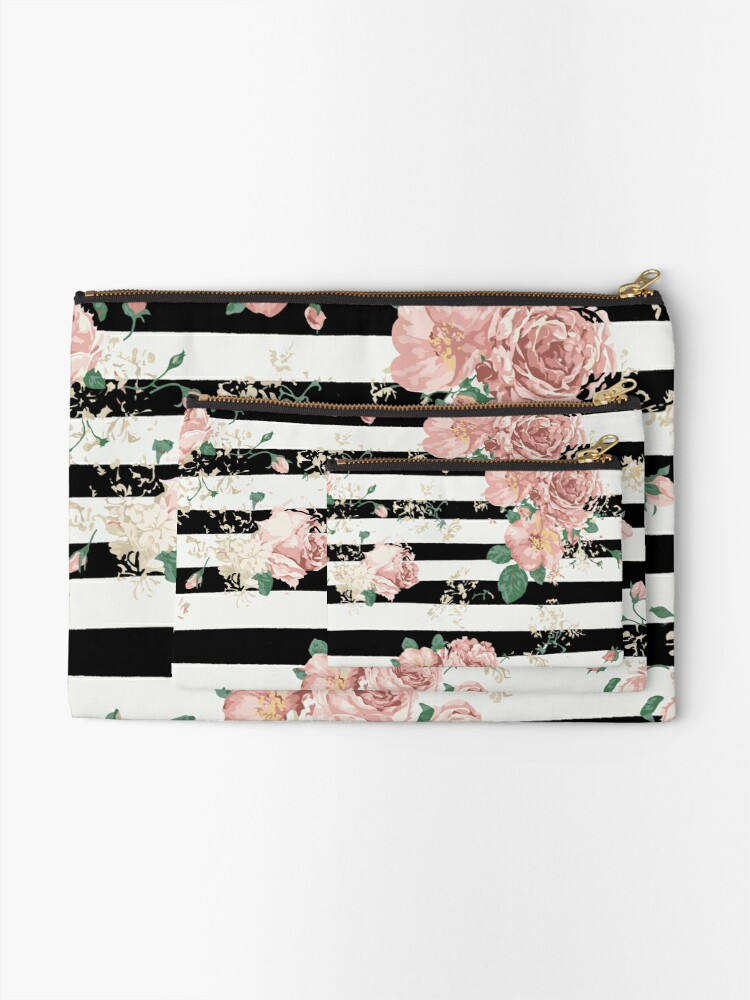 Alternate view of VINTAGE FLORAL ROSES BLACK AND WHITE STRIPES Zipper Pouch