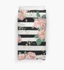 VINTAGE FLORAL ROSES BLACK AND WHITE STRIPES Duvet Cover