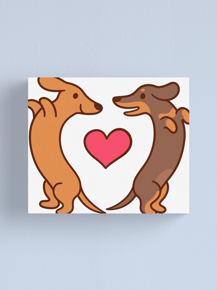 Alternate view of Cute cartoon dachshunds in love Canvas Print