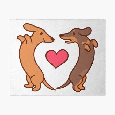 Cute cartoon dachshunds in love Art Board Print