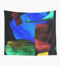 paper collage on black background Wall Tapestry