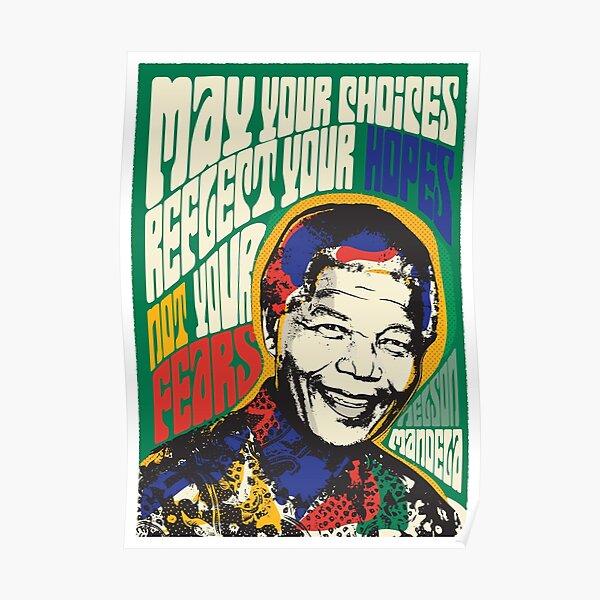 Nelson Mandela Pscyhedelic Pop Art Poster