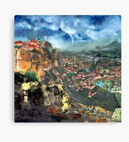 Thunderstorm over Meteora, Greece. Canvas Print