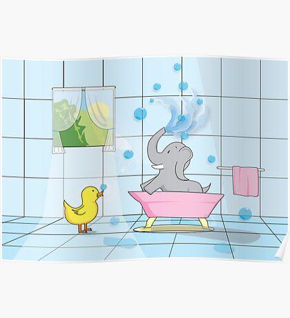 Elephant Bath Time Poster