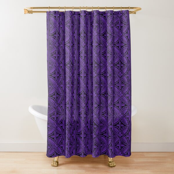 Gothic Architecture Cathedral Carving - Leaves Flowers Pattern - Purple Black Shower Curtain