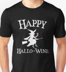 Spooky Halloween Witch On a Broomstick Happy Hallo-Wine White Text Art Graphics Design T-Shirt