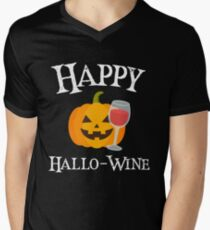 Spooky Halloween Jack O Lantern Happy Hallo-Wine White Text Art Graphics Design T-Shirt