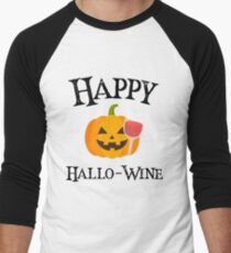 Spooky Halloween Jack O Lantern Happy Hallo-Wine Black Text Art Graphics Design T-Shirt