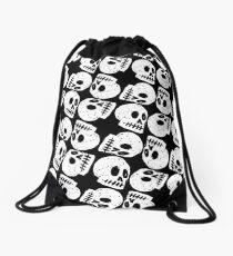 Black and White Skull Pattern Drawstring Bag