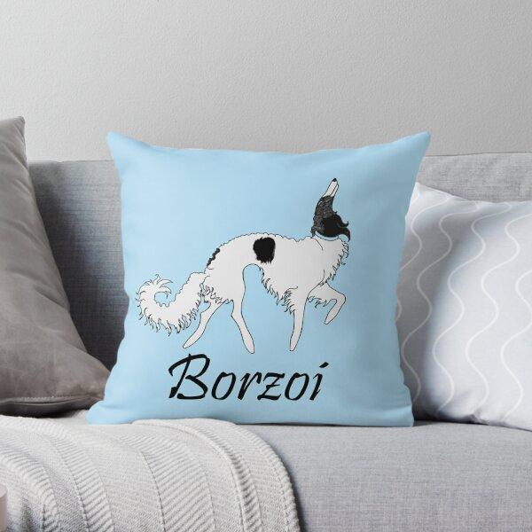 Baby Blue Borzoi Throw Pillow