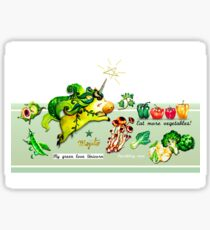 my greenlove unicorn~eat more vegetables! Sticker
