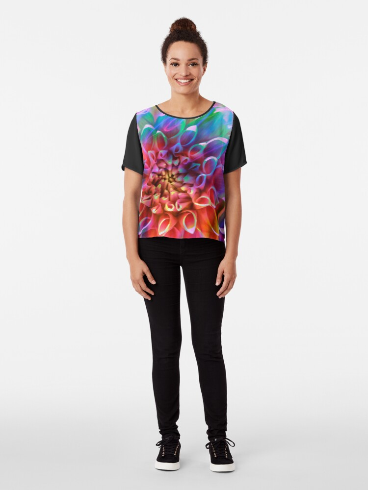 """Alternate view of """"Crosshairs of a Perpetual Doppler Shift"""" Chiffon Top"""