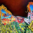 """Klimt's Twinz"" 2014 Acrylic on Canvas 36 X 24inches by Michael Arnold"