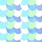 Mermaid Scales Blue/Green/White by Jessica Slater