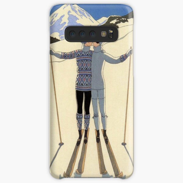 Skiing kissing couple vintage French sport fashion illustration Samsung Galaxy Snap Case
