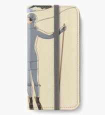 Skiing Winter kissing couple fashion illustration iPhone Wallet/Case/Skin