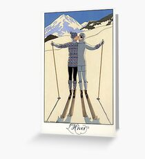 Skiing Winter kissing couple French fashion illustration Greeting Card