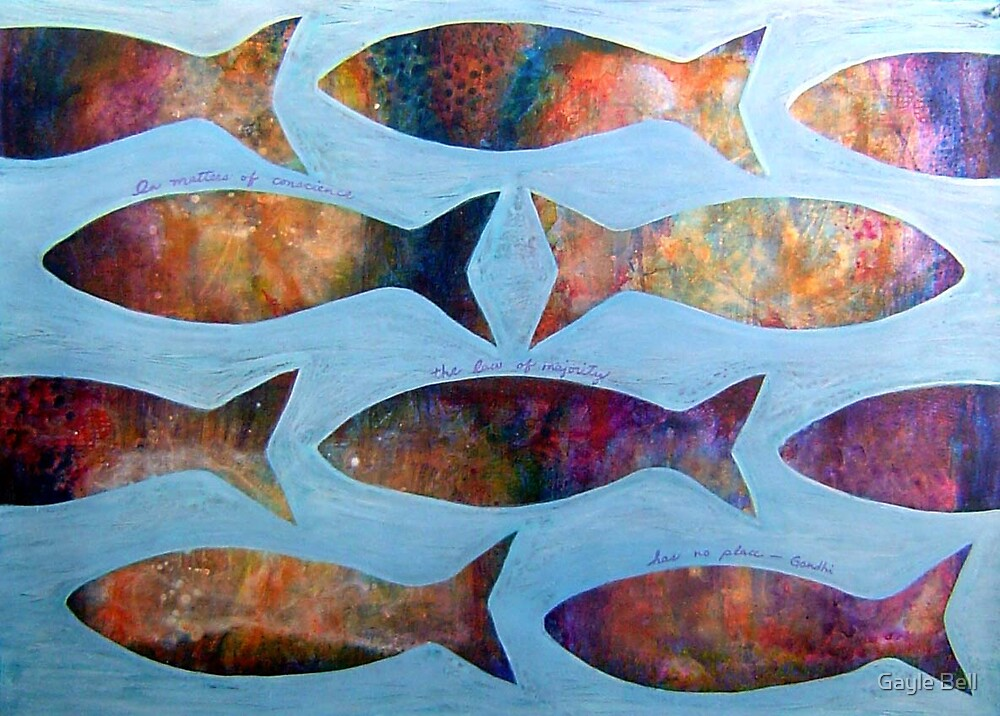 Swimming against the current by Gayle Bell