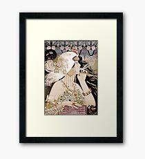 Vintage Fashion Art Nouveau smoking woman Framed Print