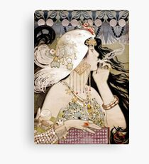 Vintage Fashion Art Nouveau smoking woman Canvas Print