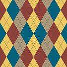 Argyle - Green, Red, Yellow, Brown by Joanne Rawson