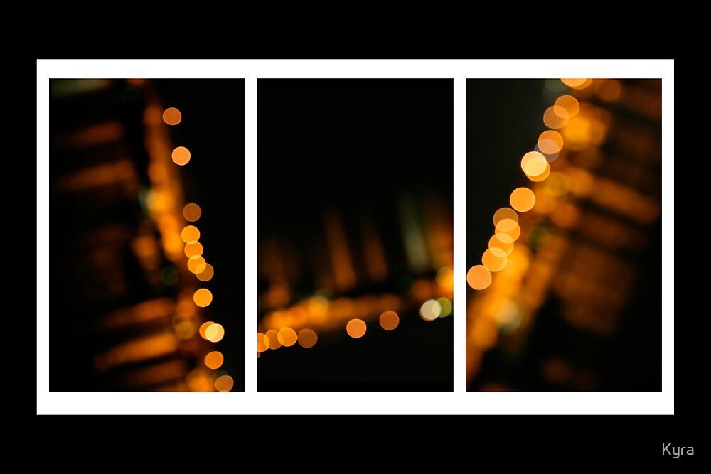 Kangaroo lights Triptych by Kyra  Webb