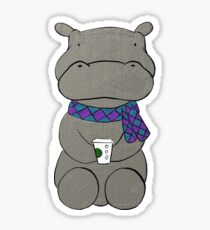 Hipster Hippo Sticker