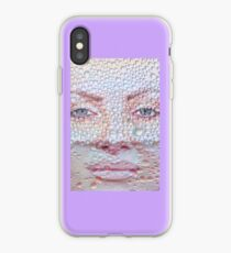 Pretty girl face against transparent water drips as background. iPhone Case
