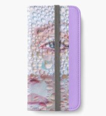 Pretty girl face against transparent water drips as background. iPhone Wallet/Case/Skin