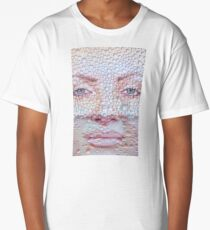 Pretty girl face against transparent water drips as background. Long T-Shirt