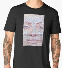 Pretty girl face against transparent water drips as background. Men's Premium T-Shirt