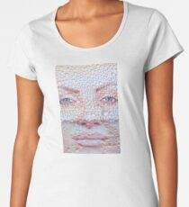 Pretty girl face against transparent water drips as background. Women's Premium T-Shirt