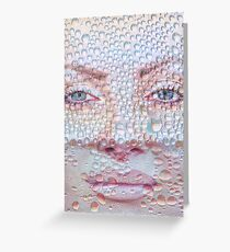 Pretty girl face against transparent water drips as background. Greeting Card