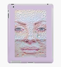 Pretty girl face against transparent water drips as background. iPad Case/Skin
