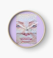 Pretty girl face against transparent water drips as background. Clock