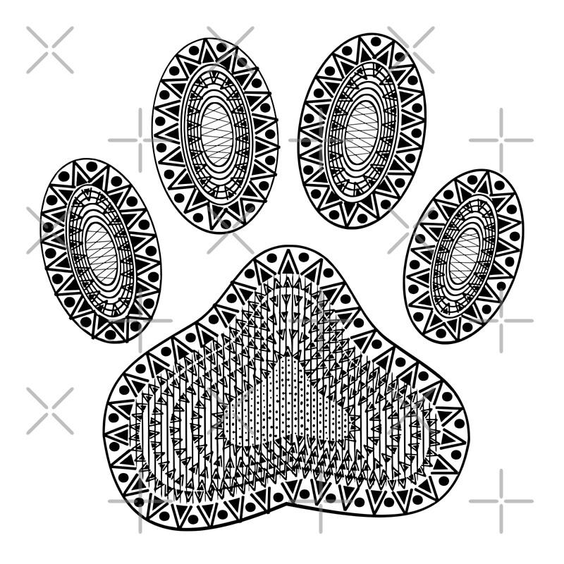 Pósters «Impresión abstracta de la pata del perro de la tinta» de ...