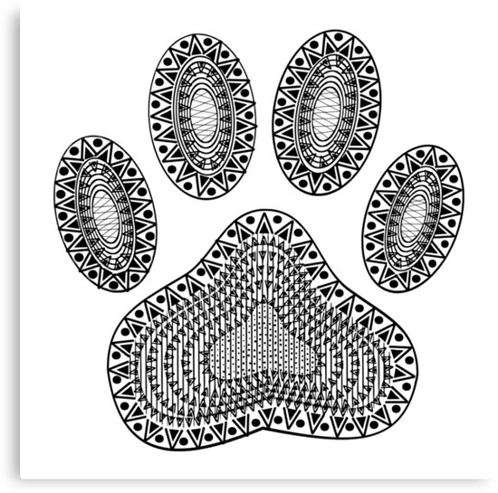 Abstract Ink Dog Paw Print by Almdrs