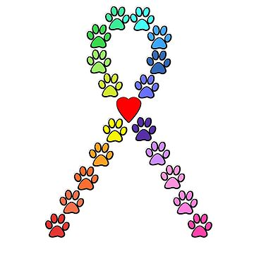 AWARENESS:  Prevent Animal Abuse -- Rainbow Love Ribbon  by geegeetee11