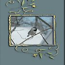 Chickadee in Gold Frame with Leaves by toots