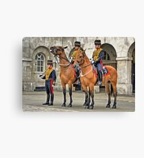 The Queens Life Guard and horses - City of London Canvas Print