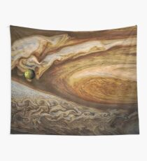 Callisto passing before Jupiter, space exploration, astronomy Wall Tapestry