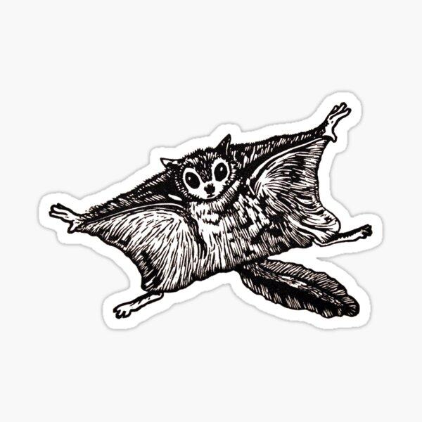 Flying Squirrel linocut Sticker