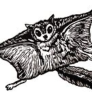 Flying Squirrel linocut by Una Scott