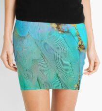 Twee pastel colors feather Fantasy art, gold sparkles Mini Skirt