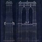Antique Blueprint of the Brooklyn Bridge, East River Bridge by Glimmersmith