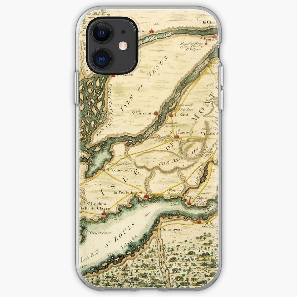 Les îles de Montréal, Canada carte antique vers 1761 | Coque iPhone