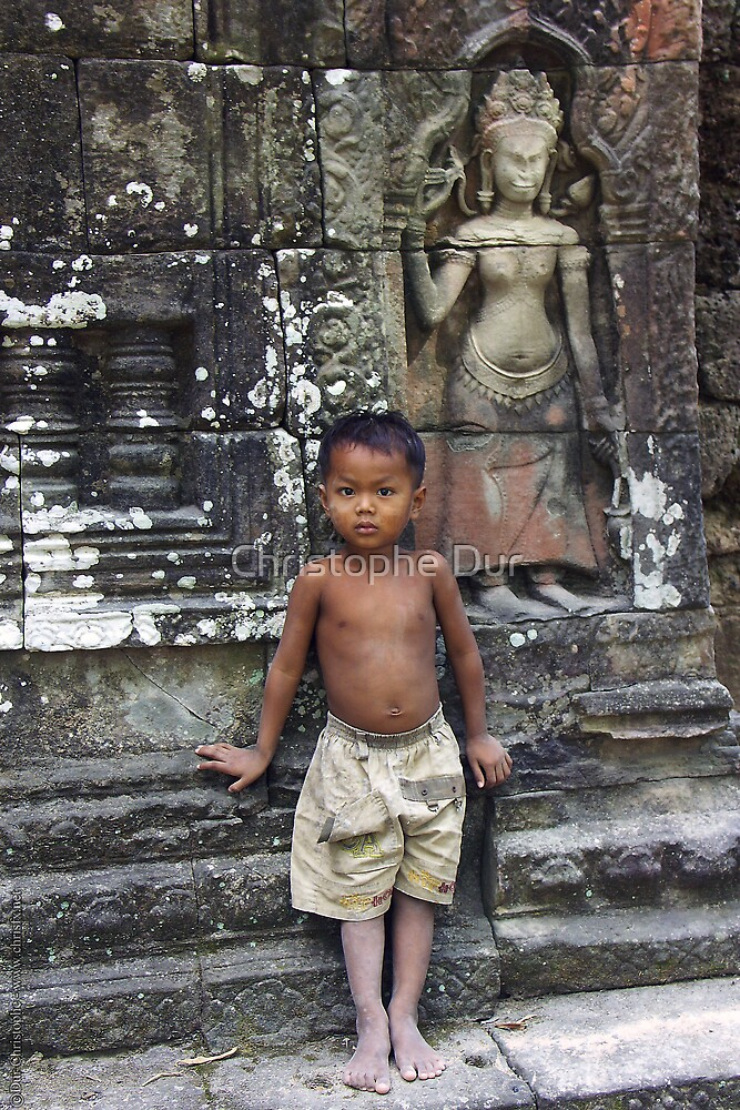 The Boy in a Temple - Cambodia by Christophe Dur