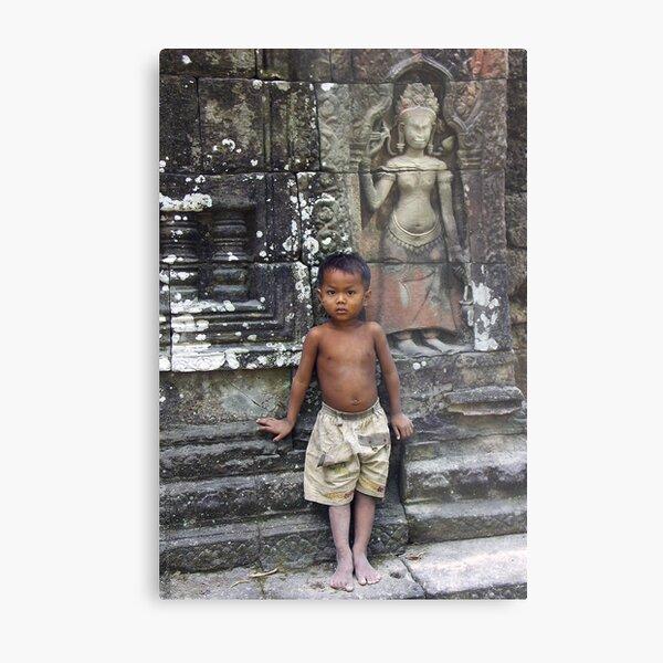 The Boy in a Temple - Cambodia Impression métallique